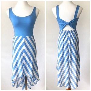 Candies High Low Striped Skirt Bow Back Dress